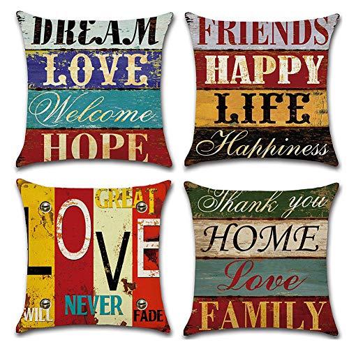 Freeas Kissenbezug 45 x 45 cm, Baumwolle Leinen Retro Love Home Kissenhülle Taille Wurf Kopfkissenbezug für Zuhause und Sofa, Schlafzimmer Dekoration, 4 Stück (Set-L)