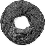 styleBREAKER warmer Feinstrick Loop Schal mit Flecht Muster und sehr weichem Fleece Innenfutter, Schlauchschal, Unisex 01018150, - Dunkelgrau, Einheitsgröße