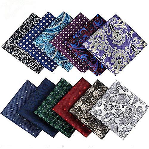 Alumuk 12 Stücke Herren Anzug Einstecktuch Taschentücher Kavalierstuch Business Hochzeit in unterschiedlichen wählbaren Designs (Style 07)