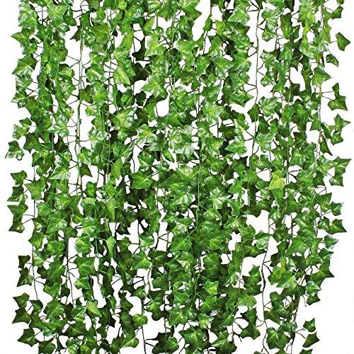 YQing Efeu Künstlich Efeu Hängend Girlande - 12 Stück Efeugirlande Künstlich 84 Ft Künstliches Efeu Hochzeit für Büro, Küche, Garten, Party Wanddekoration